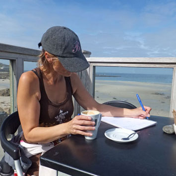 Cara Wilde working at the Cafe at Sennen Cove